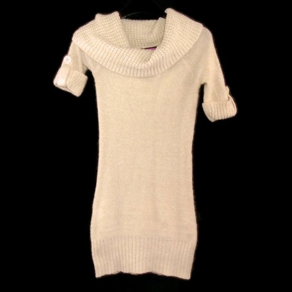 Say What? Dresses & Skirts - Say What? Sweater Dress M Short Sleeved Cowl Neck